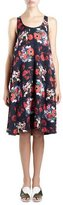 Kenzo Sleeveless Floral Silk Georgette Shift Dress, Red/Multicolor