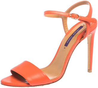 Ralph Lauren Orange Leather Open Toe Ankle Strap Sandals Size 37