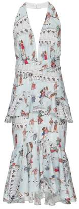 PatBO Printed Ruffle Halter Dress