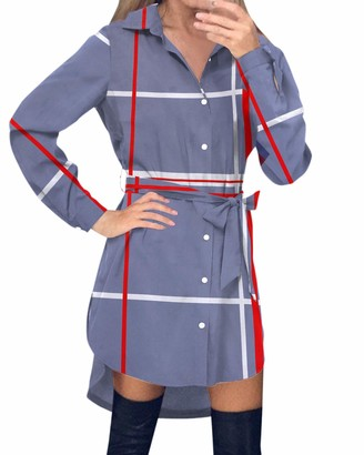 Style Dome Women's Shirt Dress Checked Long Sleeve Blouse Tartan Long Tops Checked Shirt Mini Dress Plaid Shirt Skirt White UK 10-12