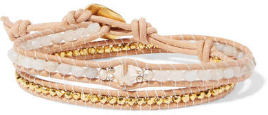 Chan Luu Leather, Gold-plated And Agate Wrap Bracelet - Gray
