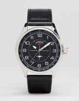 Limit Pilot Leather Watch In Black