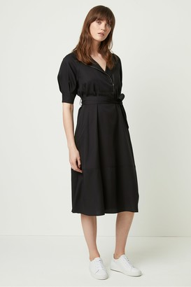 French Connection Clarita Drape Belted Shirt Dress
