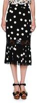 Dolce & Gabbana Lace-Trim Polka Dot Skirt, Black/White