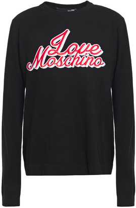 Love Moschino Crystal-embellished Embroidered Knitted Sweater