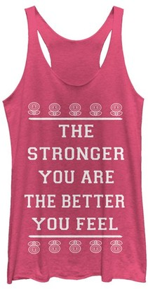 Super Mario Bros. Women's Tank Tops PINK - Super Mario Bros. 'The Stronger You Are' Racerback Tank - Women & Juniors