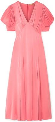 Michael Kors Ruched Satin-crepe Midi Dress