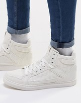 Asos High Top Sneakers in White With Perforation