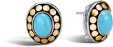 John Hardy Women's Dot Button Earring in Sterling Silver and 18K Gold, 9x7MM Natural Arizona Turquoise