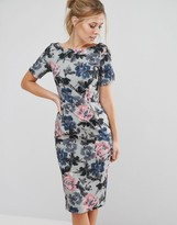 Paper Dolls Pencil Dress In Bold Floral Print