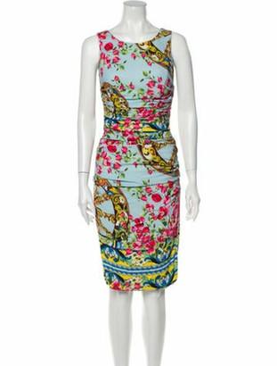 Dolce & Gabbana Printed Knee-Length Dress Blue