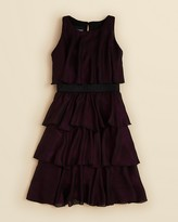 Un Deux Trois Glitter Chiffon Tiered Ruffle Dress - Sizes 7-16