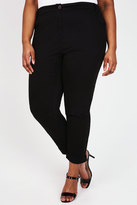 Yours Clothing Black Chino Trousers With Turn Back Cuffs
