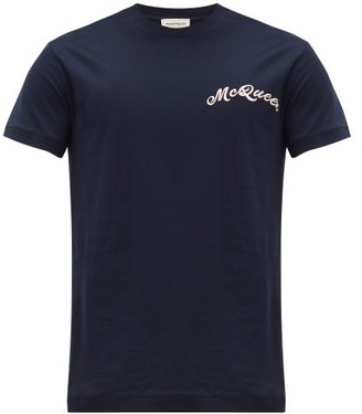 Alexander McQueen Logo-embroidered Cotton T-shirt - Navy