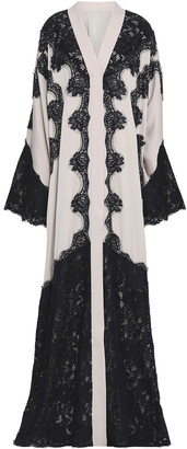 Dolce & Gabbana Lace-appliqued Silk-blend Crepe Gown
