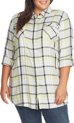 Vince Camuto Plaid Highlight Long Sleeve Blouse