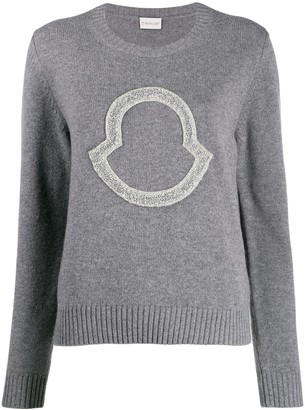Moncler Sequin Logo-Embroidered Jumper