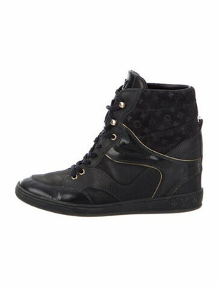 Louis Vuitton Monogram Leather Wedge Sneakers Blue