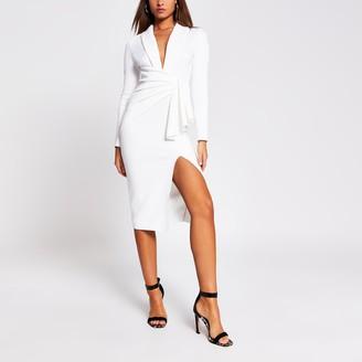 River Island Womens White long sleeve midi bodycon dress