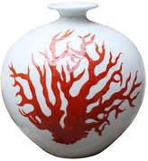 "One Kings Lane 10"" Pomegranate Vase - Orange/White"