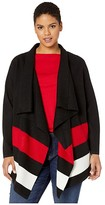 Lauren Ralph Lauren Plus Size Open-Front Wool Sweater (Polo Black/Lipstick Red/Mascarpone Cream) Women's Clothing