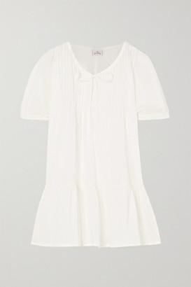POUR LES FEMMES Ruffled Cotton-voile Nightdress - White