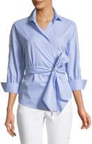 Romeo & Juliet Couture Wrap-Front Crochet-Back Blouse