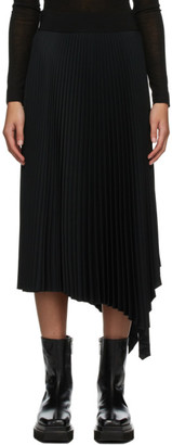 Joseph Black Swinton Pleated Ribbed Skirt