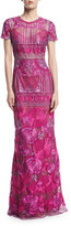 Marchesa Short-Sleeve Embroidered Tulle Evening Gown, Purple