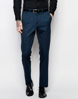Asos Slim Suit Pants With Tipping In Deep Teal