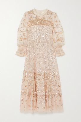 Needle & Thread Ruffled Sequined Tulle Midi Dress