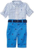Ralph Lauren Tattersall Shirt w/ Belted Schiffli Pants, Blue, Size 6-24 Months