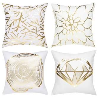 Unique Bargains Set of 4 Decorative Pillow Cover Bronzing Gold Print Throw Pillow Case