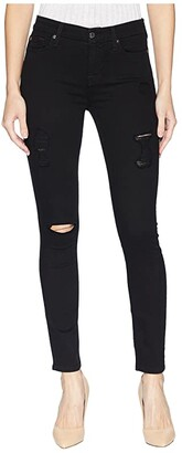 7 For All Mankind B(Air) Ankle Skinny with Destroy in Black 3 (Black 3) Women's Jeans