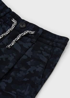 Emporio Armani Jersey, Cargo Bermuda Shorts With Jacquard Camouflage Motif