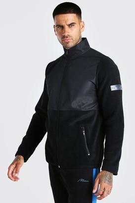 boohoo Mens Black MAN Nylon Panel Polar Fleece Funnel Top, Black