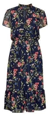 Dorothy Perkins Womens Billie & Blossom Black Label Navy Tie Neck Midi Dress