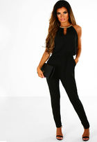 Pink Boutique Night To Remember Black Slinky Jumpsuit