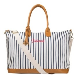 Cathy's Concepts Bridesmaid Pinstriped Weekender