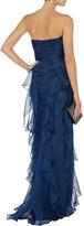 Badgley Mischka Ruffled silk gown