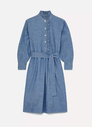 Tory Burch Deneuve Belted Ruffle-trimmed Cotton-chambray Dress - Dark denim