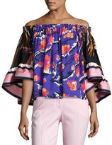 Emilio Pucci Off-Shoulder Ruffle-Sleeve Top, Multi