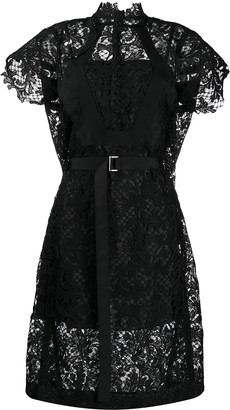 Sacai Lace Detail Midi Dress