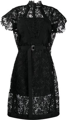 Sacai lace detail midi dress