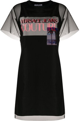 Versace sheer layered T-shirt dress