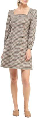 Gal Meets Glam Brooke Houndstooth Check Long Sleeve Dress