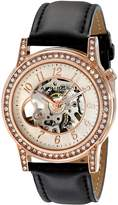 Akribos XXIV Women's AK475RG Bravura Open Heart Skeleton Automatic Dress Leather Strap Watch