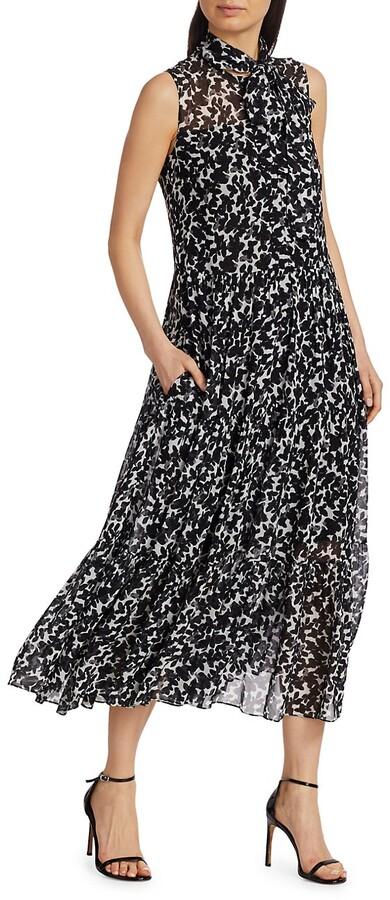 Akris Punto Magnolia-Print Sleeveless Maxi Dress