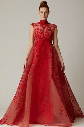 Nardos Couture Floral Embroidered Lace Empire Gown