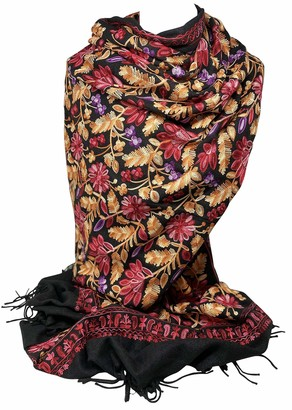 Scarf Shack Cashmere Feel Fully Embroidered Handmade Winter Wool Mix Shawl Pashmina Style Large Warm Wrap for Women